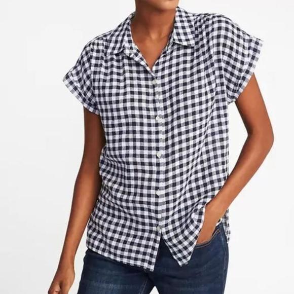 fe569f616607c Old Navy Relaxed Linen-Blend Gingham Shirt. M 5b2ec07103087ca96395e1a4